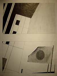 John O'Keefe's abstract pencil drawing study, created when he was eleven to thirteen years old