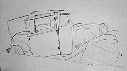 John O'Keefe's pencil drawing study of an old model-a car, created when he was fifteen years old