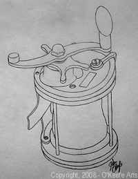 John O'Keefe's pencil drawing study of an antique fishing reel, created when he was fifteen years old