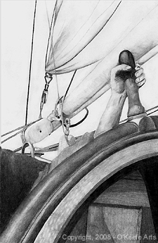 John O'Keefe's pencil drawing study of an old sailing ship deck scene, created when he was eightteen years old