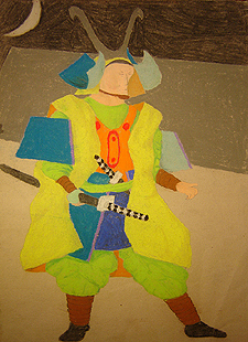 John O'Keefe's pastel study of a samuri warrior, created when he was thirteen years old