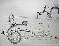 John O'Keefe's pen & ink study of an old smashed up car, created when he was fifteen years old
