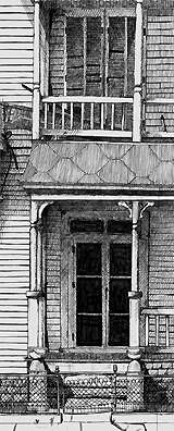 John O'Keefe's pen & ink study of a run down house, created when he was seventeen years old