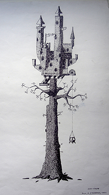 John O'Keefe's pen & ink drawing of a fantasy tree castle, created when he was thirteen years old