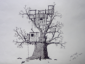 John O'Keefe's pen & ink drawing of a tree fort, created when he was thirteen years old