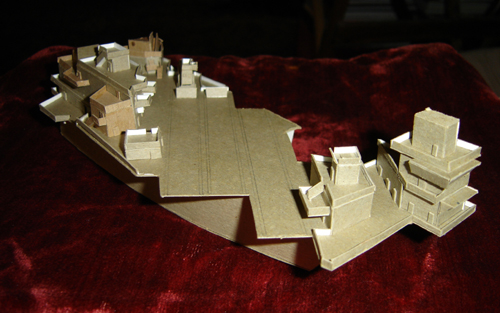 John O'Keefe's model of a futuristic aircraft carrier made from cardboard, created when he was ten years old