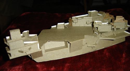 John O'Keefe's model of a futuristic aircraft carrier made from cardboard (view 2), created when he was ten years old