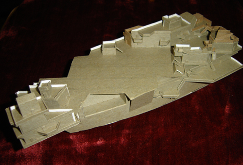 John O'Keefe's model of a futuristic aircraft carrier made from cardboard (view 3), created when he was ten years old