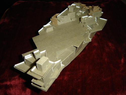 John O'Keefe's model of a futuristic aircraft carrier made from cardboard (view 4), created when he was ten years old