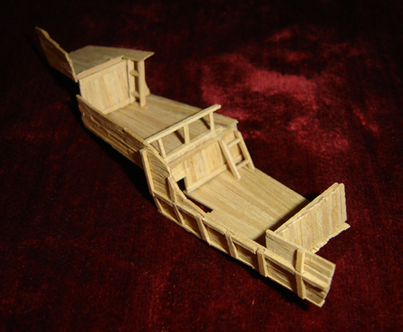 John O'Keefe's partial toothpick model of the deck of a small sail powered ship, created when he was eleven years old