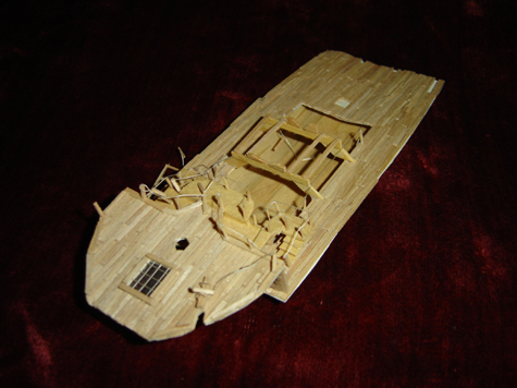 John O'Keefe's partial toothpic model of the deck of a large sail powered ship, created when he was eleven years old