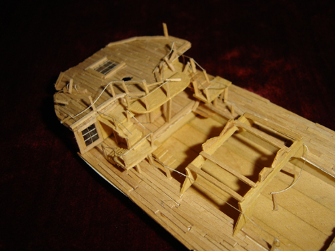 John O'Keefe's partial toothpic model of the deck of a large sail powered ship (view 3), created when he was eleven years old