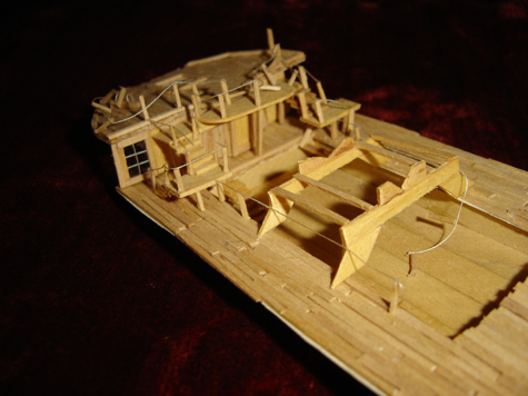 John O'Keefe's partial toothpic model of the deck of a large sail powered ship (view 4), created when he was eleven years old