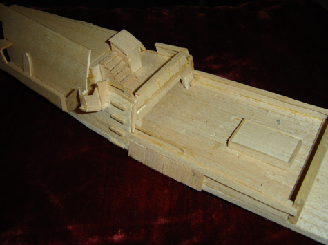 John O'Keefe's partial balsa wood model of the deck of a large sail powered ship, created when he was eleven years old