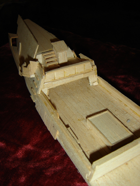 John O'Keefe's partial balsa wood model of the deck of a large sail powered ship (view 2), created when he was eleven years old