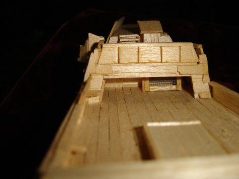 John O'Keefe's partial balsa wood model of the deck of a large sail powered ship (view 3), created when he was eleven years old