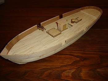John O'Keefe's partial wooden model of a sail powered ship, started when he was eleven years old