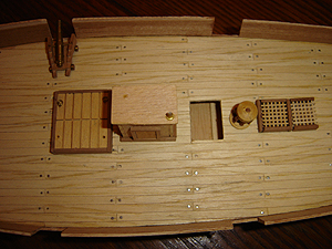 John O'Keefe's partial wooden model of a sail powered ship (view 3), started when he was eleven years old