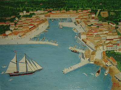 Acrylic painting by Ann Fucich, Joe's home town Trieste, Italy