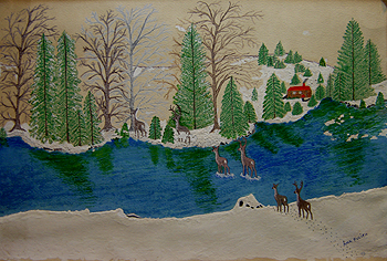 Acrylic painting by Ann Fucich, Winter Scene with deer crossing a stream