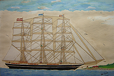 Acrylic painting by Joe Fucich, Maritime scene of a 3 masted cutter