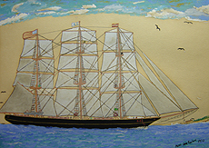 Acrylic painting by Joe Fucich, Maritime scene of a 3 masted cutter and blue sky