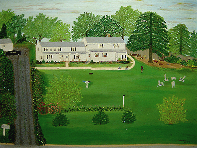 Acrylic painting by Ann Fucich, painting of John O'Keefe's Wallingford Connecticut Home