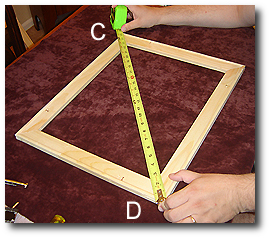 16 x 20 Canvas Stretching - Step 10 - Measure opposite diagonal corners (C-D)