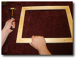 16 x 20 Canvas Stretching - Step 11 - If not square adjust using mallet