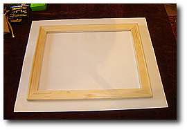 16 x 20 Canvas Stretching - Step 17 - Place assembled stretcher bars onto canvas print