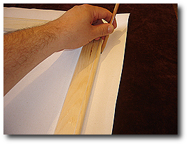 16 x 20 Canvas Stretching - Step 19 - Mark canvas with pencil along stretcher bars