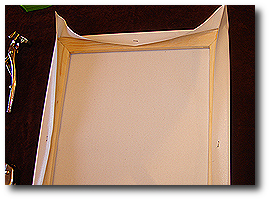 16 x 20 Canvas Stretching - Step 32 - Inspect that staple is fully seated in stretcher bar