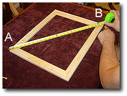 16 x 20 Canvas Stretching - Step 9 - Measure diagonal corners (A-B)