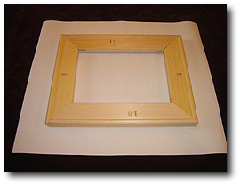 8 x 10 Canvas Stretching - Step 12 - Place assembled stretcher bars on canvas print