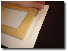 8 x 10 Canvas Stretching - Step 14 - Mark canvas with pencil along stretcher bars