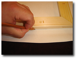 8 x 10 Canvas Stretching - Step 16 - Check pencil marks all around with canvas print image