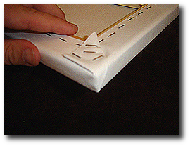 8 x 10 Canvas Stretching - Step 33 - Staple folded corner to stretcher bar
