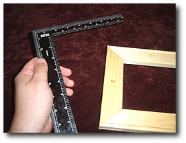 8 x 10 Canvas Stretching - Step 5 - Use square to measure squareness
