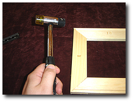 8 x 10 Canvas Stretching - Step 7 - Adjust with mallet if out-of-square