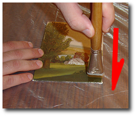 Dammar Varnish Tutorial - Step 8 - Brush on Dammar first pass in opposite direction