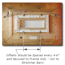 Framing a Painting - Step 3 - Attach Offset Clips Roughly 4 to 6 Inches Apart