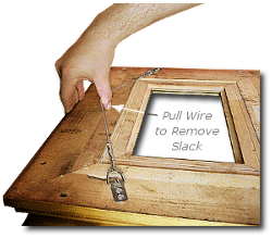Framing a Painting - Step 10 - Remove Slack From Hanging Wire By Pulling to Apex Position