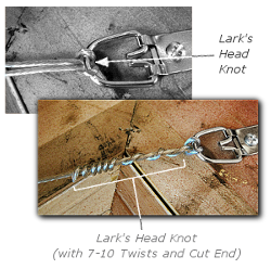Framing a Painting - Step 7 - Attach Hanging Wire to First D-Ring with Lark's Head Knot