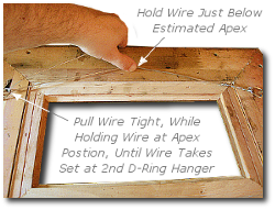 Framing a Painting - Step 8 - Apply Tension to Hanging Wire Just Below Apex Position