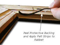 Framing a Painting - Step 4 - Remove Adhesive Backing and Install Felt Strips into Rabbet