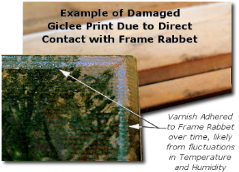 Framing a Painting - Example of Rabbet Damage to Unprotected Painting Surface