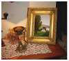 Finished oil painting with frame on display: 'Autumn on the Hudson Revisited' by John O'Keefe Jr.