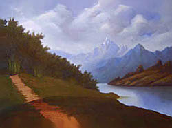 Painting tutorial for 'Lakeside Path' by John O'Keefe Jr. - Day 6
