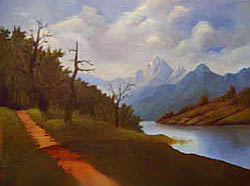 Painting tutorial for 'Lakeside Path' by John O'Keefe Jr. - Day 7