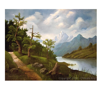 Finished oil painting: 'Lakeside Path' by John O'Keefe Jr.